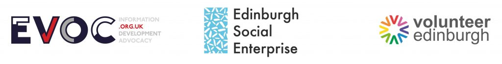 EVOC logo, Edinburgh Social Enterprise logo and Volunteer Edinburgh logo.